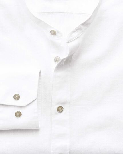 Classic fit collarless white shirt