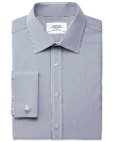 Slim fit raised stripe navy shirt