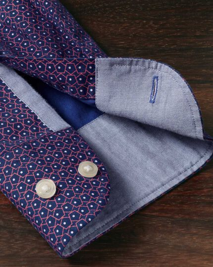 Classic fit blue and pink pentagon print shirt