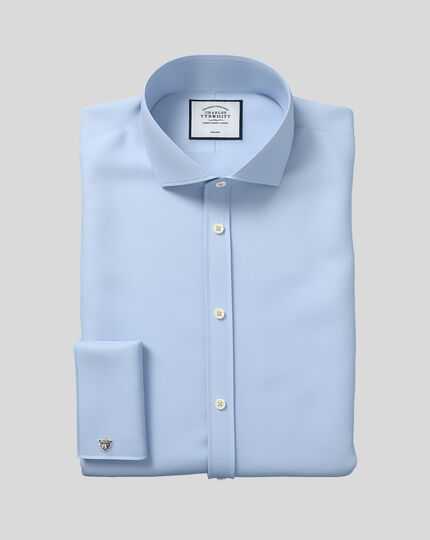 Extra slim fit cutaway collar non-iron twill sky blue shirt