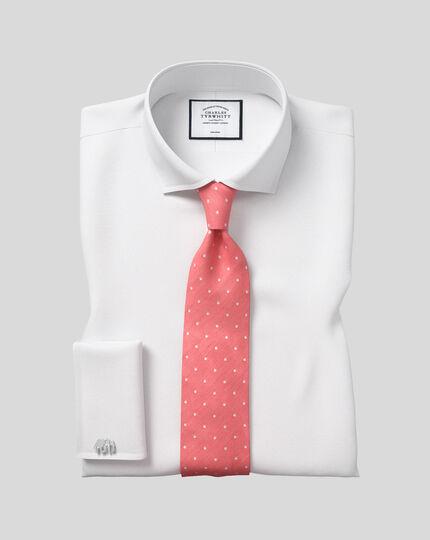 Slim fit cutaway collar non-iron poplin white shirt