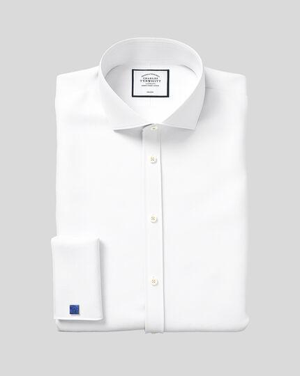 Extra slim fit cutaway collar non-iron poplin white shirt