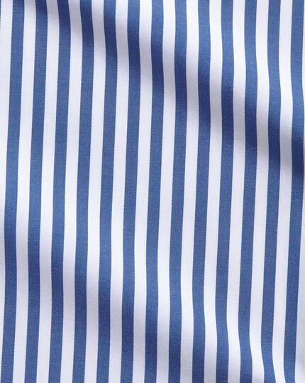 Slim fit spread collar non iron bold stripe blue shirt