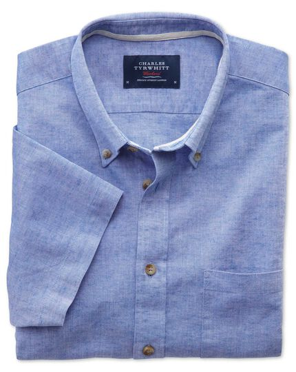 Slim fit short sleeve mid blue shirt