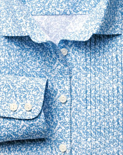 Women's semi-fitted pretty floral sky bib shirt