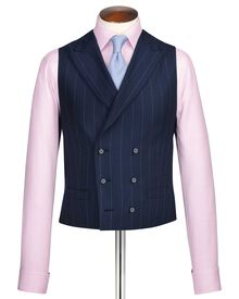 Navy stripe British serge luxury suit waistcoat