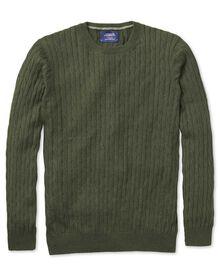 Baumwolle / Kaschmir Zopfmuster Pullover mit Rundhalsausschnitt in Waldgrün