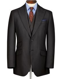Charcoal classic fit British hopsack luxury suit jacket