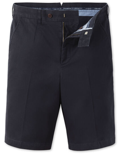 Navy single pleat chino shorts