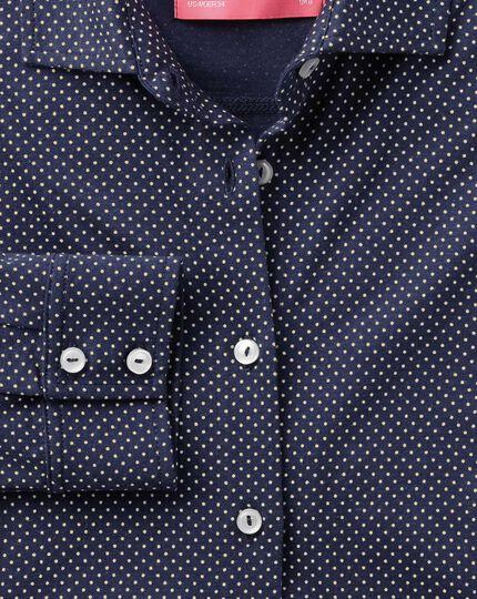 Navy pindot print jersey shirt