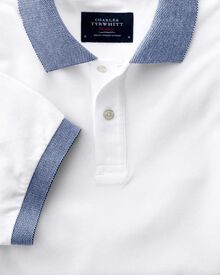 Classic fit white Oxford polo shirt
