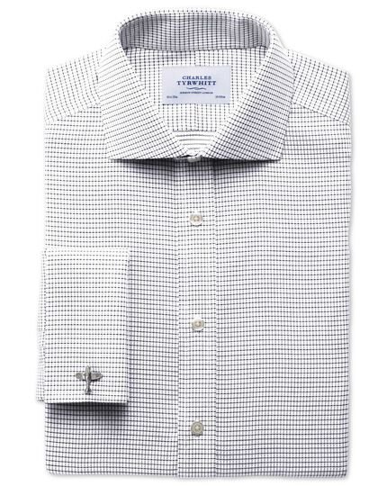 Slim fit spread collar non-iron white and black shirt