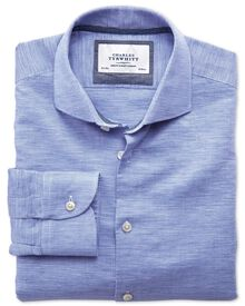 Slim fit cutaway collar business casual linen cotton blue shirt