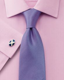 Slim fit non-iron mini herringbone pink shirt