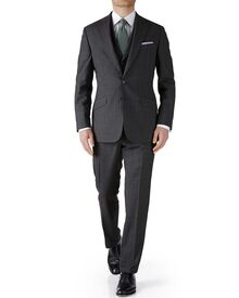 Grey check slim fit flannel business suit