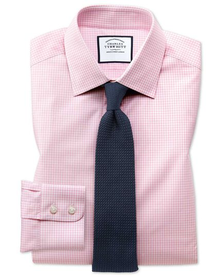 Slim fit small gingham light pink shirt