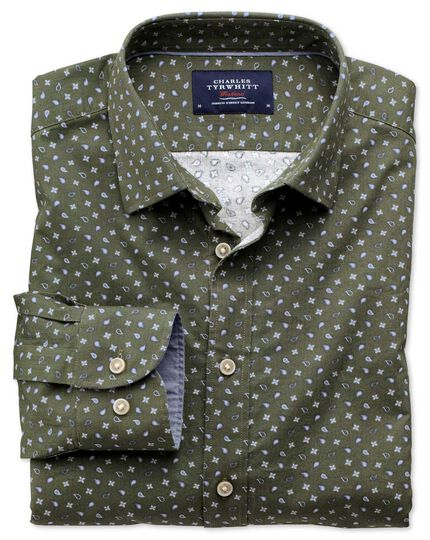 Slim fit olive paisley print shirt
