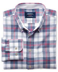 Slim Fit Oxfordhemd in blau und rosa mit Karos