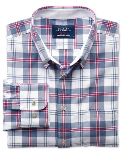 Slim fit blue and pink check washed Oxford shirt