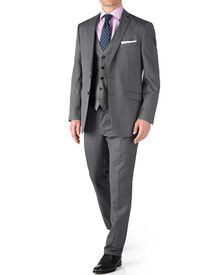 Silver classic fit twill business suit