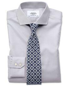 Slim fit spread collar non-iron twill grey shirt