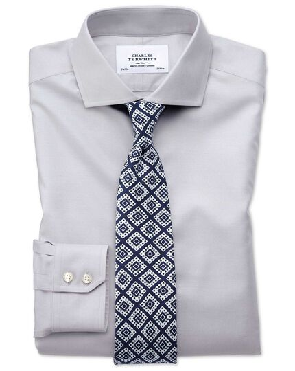 Slim fit spread collar non-iron twill grey shirt