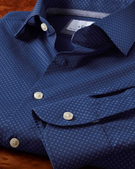 Slim fit semi-spread collar business casual printed blue shirt