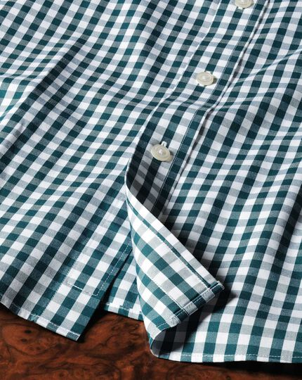 Classic fit non-iron Oxford gingham green shirt