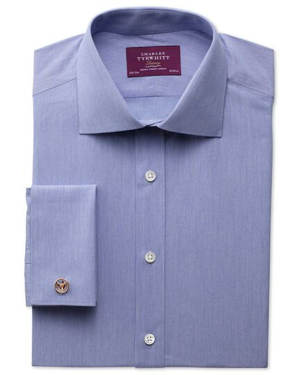 Extra slim fit semi-spread collar luxury poplin mid blue shirt