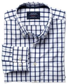 Classic fit washed blue check shirt