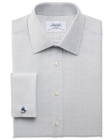 Slim fit Prince of Wales royal twill grey shirt