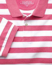 Dark pink stripe pique polo