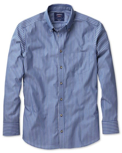 Slim fit non-iron poplin blue and white stripe shirt