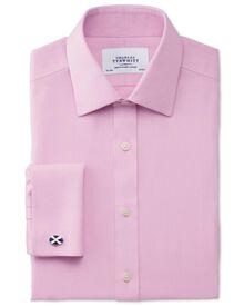 Extra slim fit non-iron mini herringbone pink shirt
