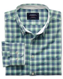 Slim fit blue and green check washed Oxford shirt