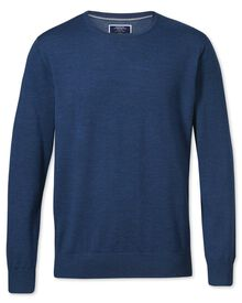 Mid blue merino wool crew neck jumper