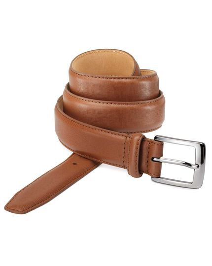 Tan textured leather formal belt