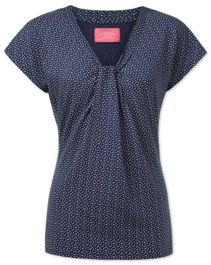 Women's navy and white spot printed knot detail jersey top