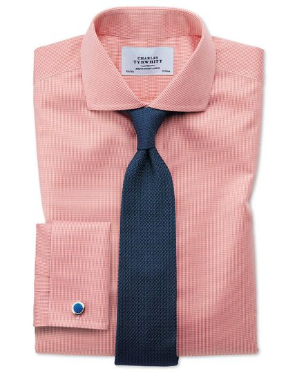 Extra slim fit spread collar non-iron puppytooth coral shirt