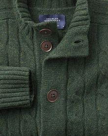 Olive lambswool cable cardigan