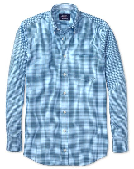 Classic fit non-iron Oxford chambray gingham blue shirt