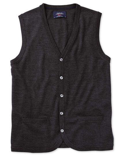 Charcoal merino wool waistcoat