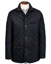 Classic fit navy canvas quilted jacket