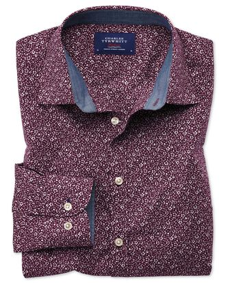 Classic fit purple floral print shirt