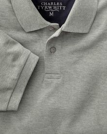 Classic fit grey pique polo