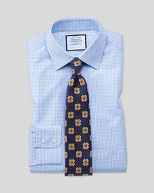 Extra Slim Fit Hemd in Himmelblau mit kleinen Gingham-Karos