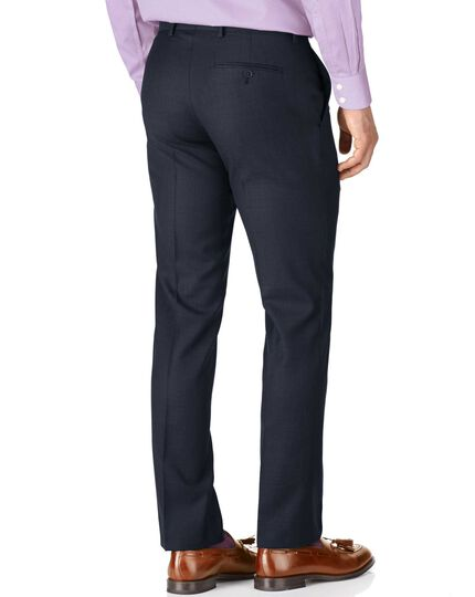 Blue slim fit sharkskin travel suit pants