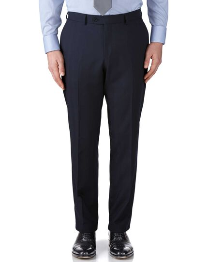 Navy classic fit herringbone business suit trousers