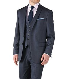 Airforce blue classic fit twill business suit jacket