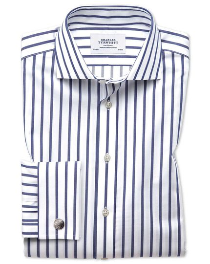 Extra slim fit spread collar non-iron Bengal wide stripe white and blue shirt